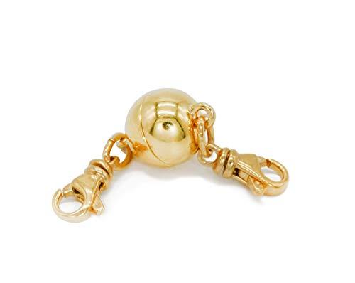 My Home Crystal - Kugel Magnetverschluss, Kettenverlängerung 925 Silber 24k vergoldet mit zugstarkem Magneten und eingeschweißter Öse (12.0mm Karabiner + Karabiner)