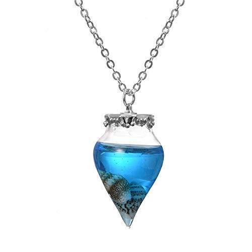 Collar de Mujer, Verde Novedad Gota de Agua Botella de Deseo Collares Pendientes Conchas de océano Botella de Vidrio Collares llamativos Collares de Cadena Larga Joyas