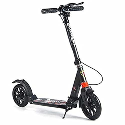 SJZD Scooter Plegable Freestyle Scooter para Adultos Freno de Disco Kicker Ruedas Grandes Pueden ser Regalo de cumpleaños para Adultos/Adolescentes/niños, rodamiento 150 kg (Negro)