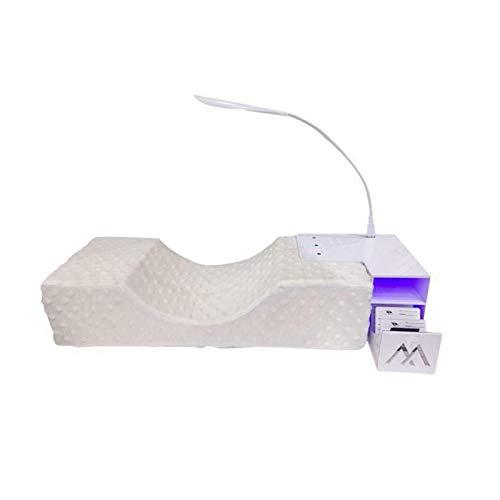 GEZICHTA Eyelash Extension Set w/Detachable U-Shaped Memory Foam Pillow, U-Shaped Beauty Salon Pillow with Acrylic Shelf Stand, Adjustable USB LED Light Ergonomic Makeup Tool for Beauty Salon