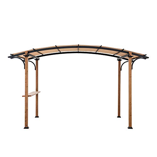Sunjoy A106004502 Aura 10x7.75 ft. Steel Arched Pergola with Natural Wood Looking Finish, Tan
