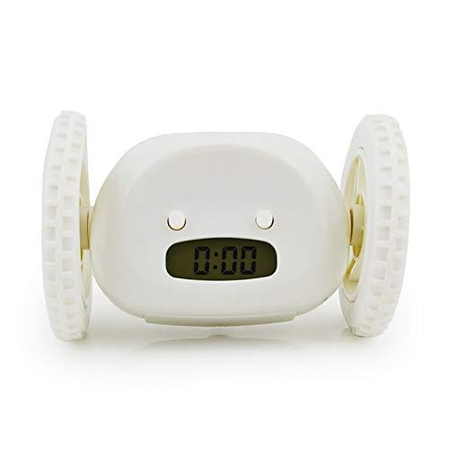 ghn Digitaler Wecker mit Rädern, Hintergrundbeleuchtung, extra laut, für Schwerschläfer, Erwachsenen- oder Kinderschlafzimmer, lustig, rollend, Laufen, Bewegung, Springen, Tischuhr (Farbe: Weiß)