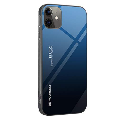 Dqtaoply Carcasa para iPhone 12 Mini, cristal templado, parte trasera con marco de silicona TPU suave, color degradado, funda para iPhone 12 Mini (azul y negro)