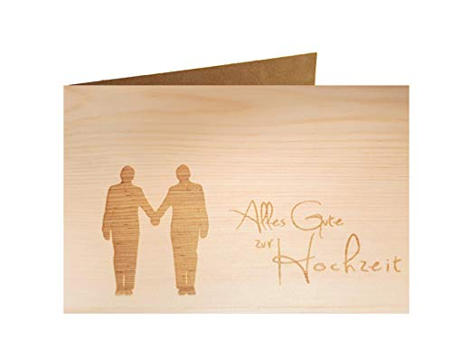 Holzgrußkarte - ALLES GUTE ZUR HOCHZEIT - 100% handmade in Österreich - Postkarte Glückwunschkarte Geschenkkarte Grußkarte Klappkarte Karte Einladung mr gleichgeschlechtlich