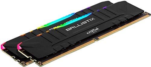 Crucial Ballistix BL2K8G36C16U4BL RGB, 3600 MHz, DDR4, DRAM, Memoria Gaming Kit per Computer Fissi, 16GB (8GBx2), CL16, Nero
