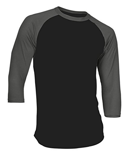 Dream USA Men's Casual 3/4 Sleeve Baseball Tshirt Raglan Jersey Shirt Black/C Gray 2XL