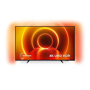 Philips TV with Ambilight and Voice control (4K UHD LED TV, HDR10+, Dolby Vision, Dolby Atmos, Smart TV) – Plastic Gun Metal/Mid Silver (2020/2021 Model)