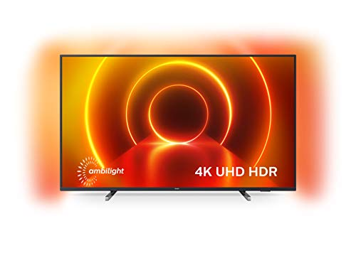 Philips 43PUS7805/12 43-Inch TV with Ambilight and Voice control (4K UHD LED TV, HDR10+, Dolby Vision, Dolby Atmos, Smart TV) - Plastic Gun Metal/Mid Silver (2020/2021 Model)