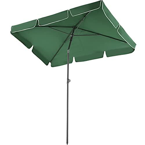TecTake 800683 - Ombrellone da giardino in alluminio, regolabile in altezza, pieghevole, protezione UV 50+, 200 x 125 x 235 cm, colori assortiti (verde | n. 403137)