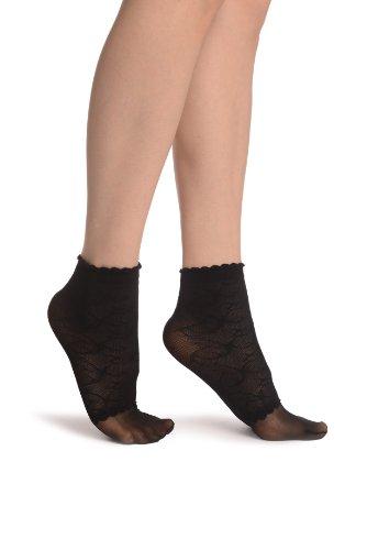 LissKiss Black Patterned Mesh und Sheer Toes Socks Ankle High - Schwarz Socken Einheitsgroesse (37-42)