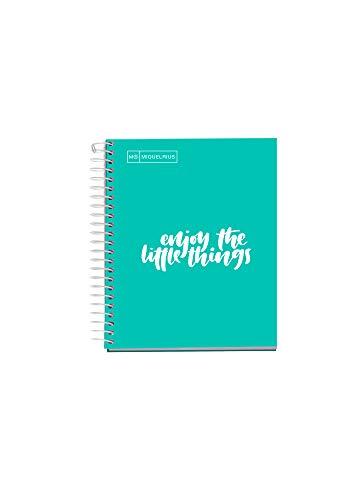 Miquelrius - Cuaderno Notebook Messages, 1 Franja de Color, A6, 100 Hojas Cuadriculadas de 5 mm, Papel 90 g, Sin Taladros, Cubierta de Cartón Duro, color Turquesa