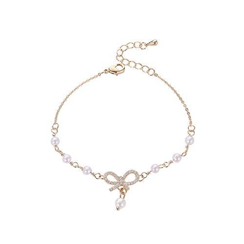 XBJ Pulsera de Mujer, Pulsera de Perlas con Lazo, Pulsera Coreana chapada en Oro Real, joyería de Novias Dulces y Salvajes