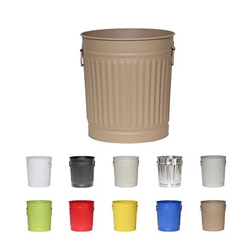 Jinfa | Cubo de basura de metal con asas | Contenedor vintage para interiores, reciclaje | Sin tapa | Beige | Tamaño: L | 36 cm de diámetro, 36,5 cm de altura | Volumen: 35 Litros