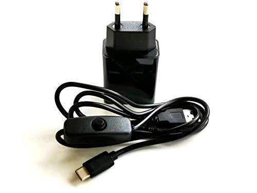 AptoFun 5V 2A USB Ladegerät + USB/Typ-C Stromkabel mit An/Ausschaltknopf für Raspberry Pi 4/4B, Micro:bit und auch Smart Phone mit Typ-C Schnittstelle