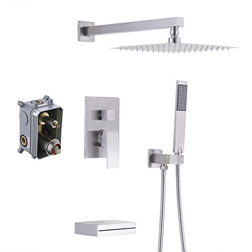 KES Shower System with Waterfall Tub Spout Pressure Balance 3-Function Shower Faucet Set Square with 10 Inch Rain Shower Head (Including Shower Faucet Rough-In Valve Body and Trim), XB6305-BN