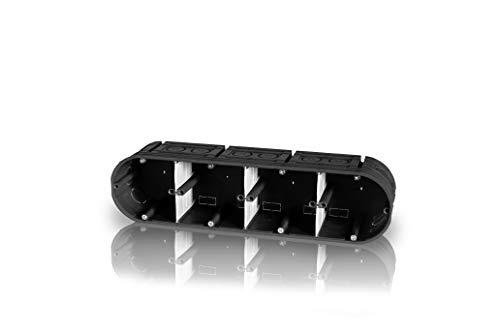 1 Stück 4er Unterputzgerätedose mehrfach massiv schwarz Gerätedose Schalterdose Einbaudose Trockenbau