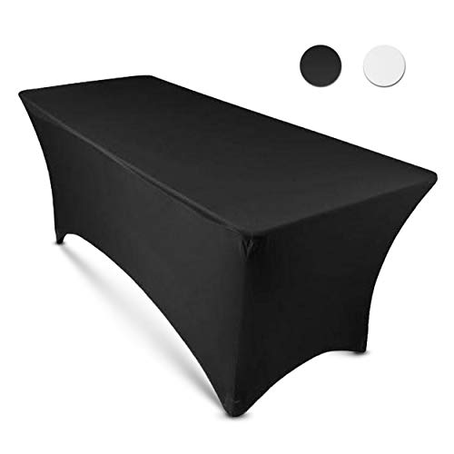 8ft Tablecloth Rectangular Spandex Linen - Black Table Cloth Fitted Cover for 8 Foot Folding Table, Wedding Linens Banquet Cloths Rectangle Covers