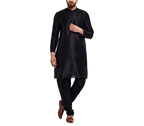 Royal SOJANYA Men's Dupion Silk Kurta Medium Black