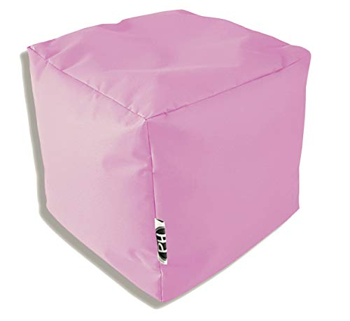 Patchhome Pouf cube rempli pour l'intérieur et l'extérieur Rose 35 x 35 x 35 cm