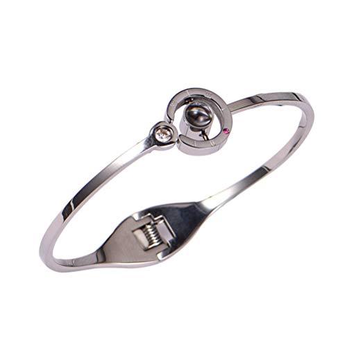 Fenical Titan Stahl Armreifen Projektion Armband Ich Liebe Dich 100 Sprache Schmuck Geschenke für Frauen und Mädchen (Silber)