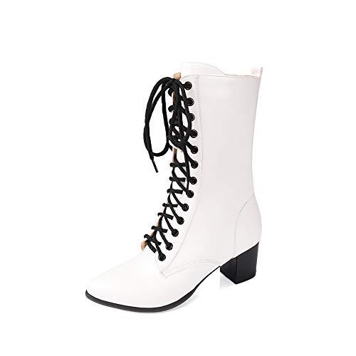 WEIYIDQ Damen-Pumps Mode-Casual-Größe Größe Front-Krawatte Martin Stiefel Weiß Dreiunddreißig