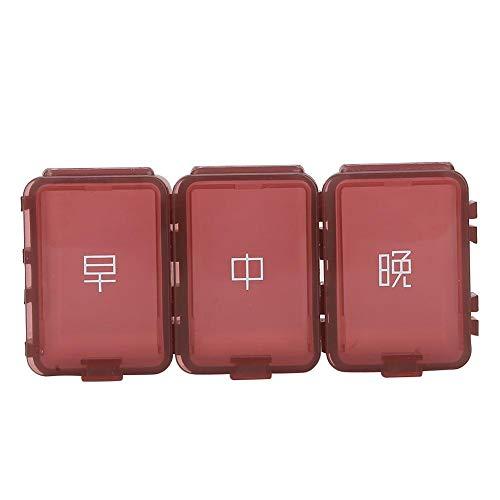 Dispensador de pastilleros Medicamentos en mini envases Caja de almacenamiento de medicamentos portátil para dispensar medicamentos diarios(vino tinto)