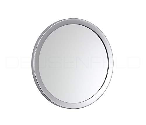 DEUSENFELD KM10C - Kosmetikspiegel Schminkspiegel zum Kleben, Klebespiegel, selbstklebend, magnetisch abnehmbar, ø 15cm, 10x Vergrößerung, verchromt