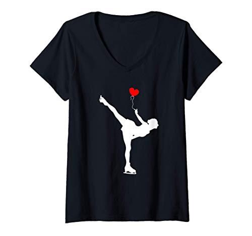 Damen Eiskunstlauf Eislauf Eiskunstläuferin Schlittschuh Geschenk T-Shirt mit V-Ausschnitt