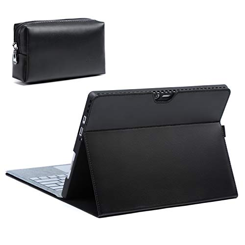 HYZUO Case Cover for Surface Pro 7/ Pro 6/ Pro 5 2017/ Pro 4 Folio Stand with Stylus Holder for Surface Pro 6/5/4 with Zipper Pouch, Compatible with Type Cover Keyboard, Black(Lambskin Leather)