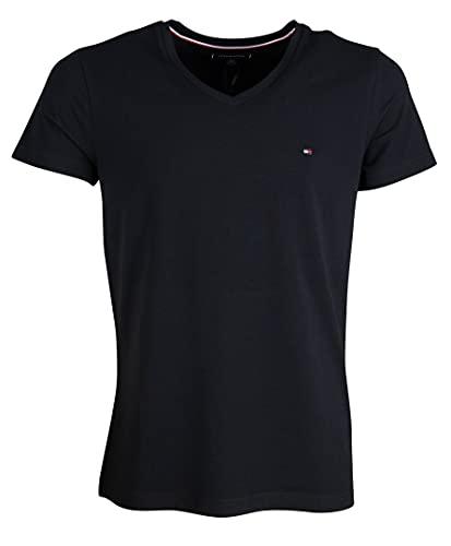 Tommy Hilfiger Core Stretch Slim Vneck tee Camiseta, Negro (Flag Black 083), Medium para Hombre