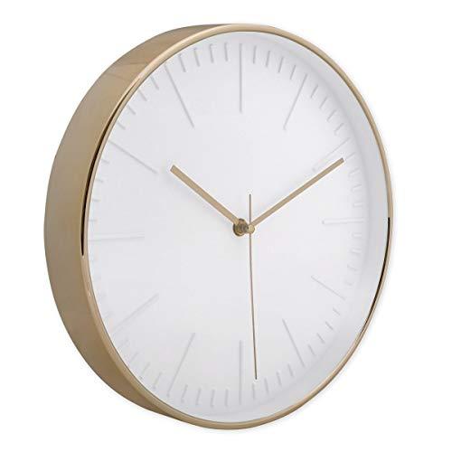 PHOTOLINI Wanduhr Gold Rund 30 cm Durchmesser ohne Tickgeräusche | Deko Wand-Uhr