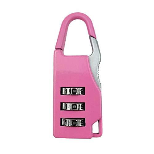 3 Wijzerplaat Digit Combinatie Wachtwoord Lock Zink Legering Veiligheid Reizen Kluis Koffer Bagage Gecodeerde Kast Locker Hangslot roze