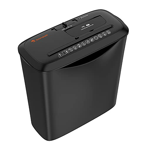 Paper Shredder for Home Use, Bonsaii 8 Sheets Strip Cut Shredders for Home Office, CD and Credit Card Office Shredder Machine with Overheat and Overload Protection,3.5 Gallons Wastebasket-Black
