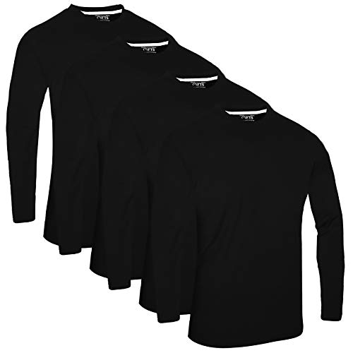FULL TIME SPORTS® Tech 3 4 6 Pack Assorted Langarm-, Kurzarm Casual Top Multi Pack Rundhals T-Shirts (Large, 4 Pack - Long Sleeve Schwarz)
