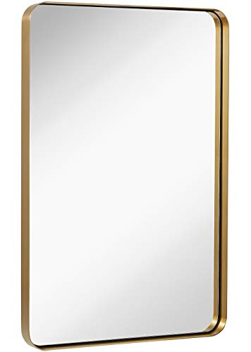 Hamilton Hills Contemporary Brushed Metal Wall Mirror | Glass Panel Gold Framed -