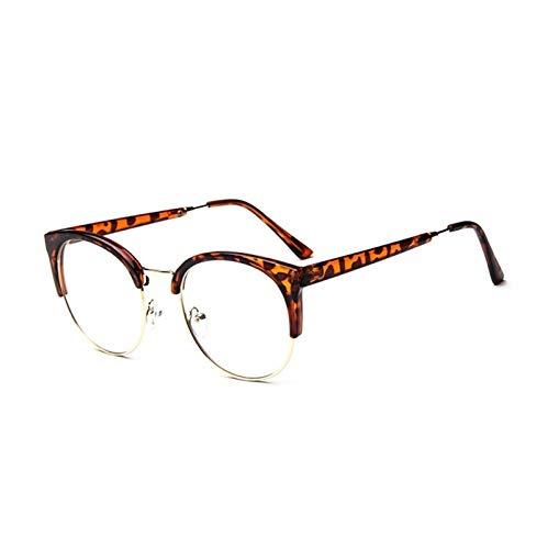 Without Marcos de Gafas Moda Mujeres Gafas Marco Menaje Eyeaglasses Marco Vintage Redondo Claro Lente Claro Spectacle Marco óptico (Frame Color : Leopard)