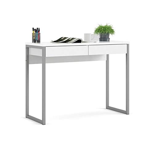Levan Home 2 Drawer White Computer Writing Desk in High Gloss