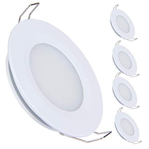 acegoo Juego de 4 lámparas LED empotrables de techo de 12 V, 3 W, 3200 K, para caravana, barco,...