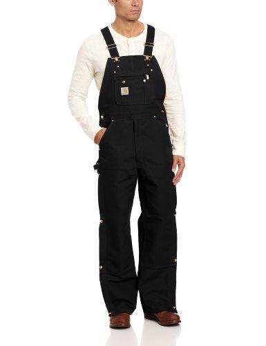 Carhartt Men's Zip To Thigh Bib Overall Unlined,Black,30 x 32