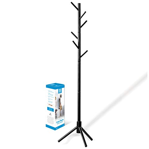 ZOBER Premium Wooden Coat Rack Free Standing, with 6 Hooks Lacquered Pine Wood Tree Coat Rack Stand for Coats, Hats, Scarves, Clothes, and Handbags - (Black)