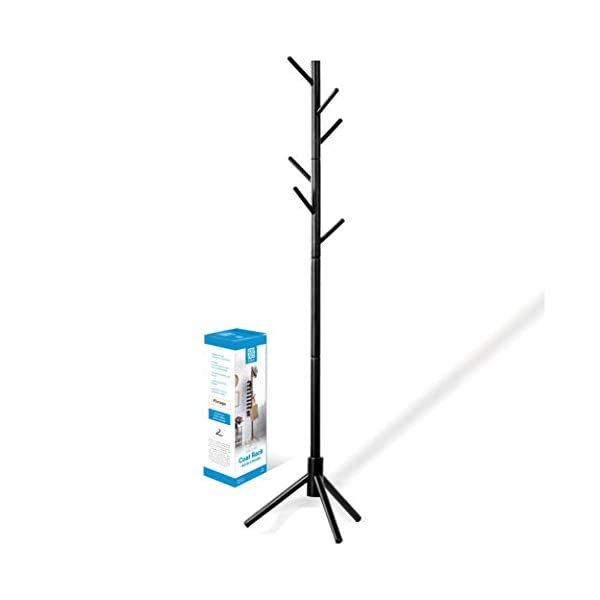ZOBER Premium Wooden Coat Rack Free Standing, with 6 Hooks Lacquered Pine Wood Tree...