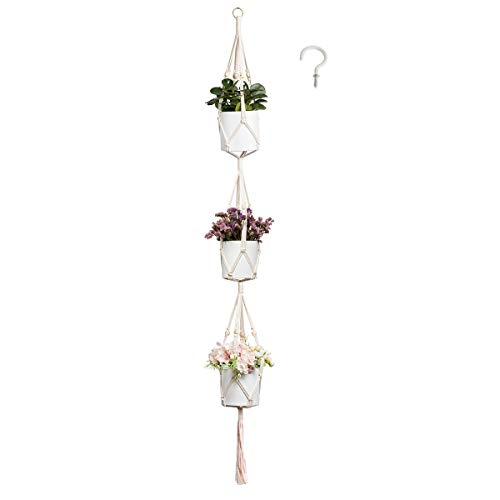 ENUOSUMA 3 Tier Plant Hanger, Indoor Outdoor Macrame Hanging Planter Flowers Pot Holder for Plants Decorations - Cotton Rope, 4 Legs, 71 Inch (Bonus: 1 PC Hook)