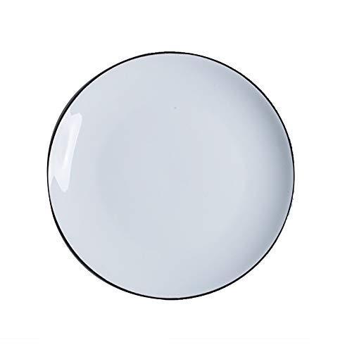 KEKEYANG Black Side Dish Ceramic Fish Breakfast Plate Simple Cutlery Set Shallow Dish Vegetable Soup Hotel Porcelain Plate Deep Plate 17.7X17.7X3.2Cm Plates