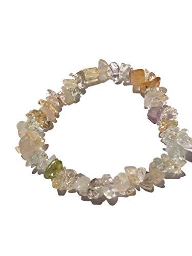 Pulsera de piedras mixtas de 19 cm con cuarzo rosa, amatista, cristal de roca, aguamarina