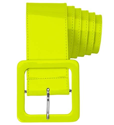 Das Kostümland Neon Lack Gürtel für Damen 124,0 x 5,5 cm - Gelb