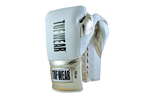 TUF WEAR Sabre Professioneller Kampfsport-Handschuh, BBBofC-Zertifiziert, Weiß/Gold, 10oz Regular