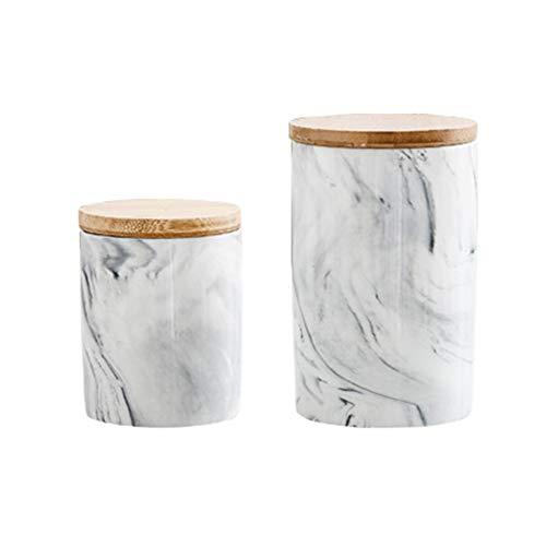 Yidata, set di 2 barattoli ermetici da cucina in ceramica, con coperchio in bambù, contenitore in porcellana Morden per decorazione casa, cucina, grigio