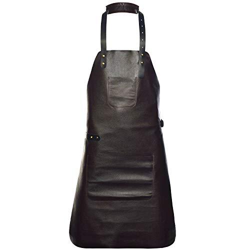 Livorio Premium Lederschürze aus hochwertigem Glattleder | Grillschürze | Kochschürze | Kellnerschürze | 2 Taschen | braun