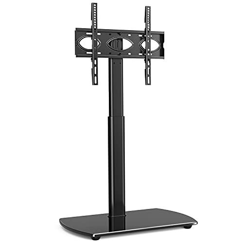RFIVER Supporto TV da Pavimento per Schermo da 27 a 55 pollici LCD LED Plasma Porta TV in Vetro Temperato Staffa Girevole Regolabile in Altezza fino a 30kg Max VESA 400x400mm