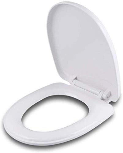 Asiento de inodoro Herradura tapa del inodoro universal Con Silenciar lento hacia abajo antibacteriana PP Junta de montaje superior ultra higiénico resistente funda de asiento, White-41 ~ 43.5cm * 34.